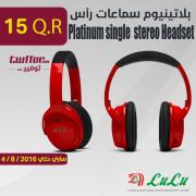 Platinum single pin Hd stereo Headset